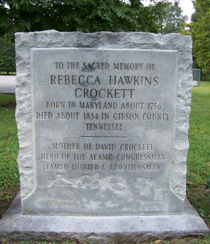 Grave stone of Rebecca Hawkins Crocket, mother of David Crockett