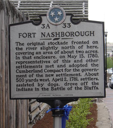 Tennessee Historical Marker at Fort Nashborough