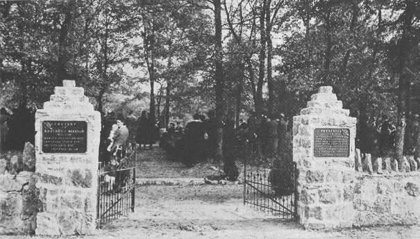 November 1, 1933, new gates and stone columns at Brainerd Mission Cemetery placed by the DAR and SAR chapters