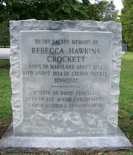 Grave stone of Rebecca Hawkins Crocket, mother of David Crockett
