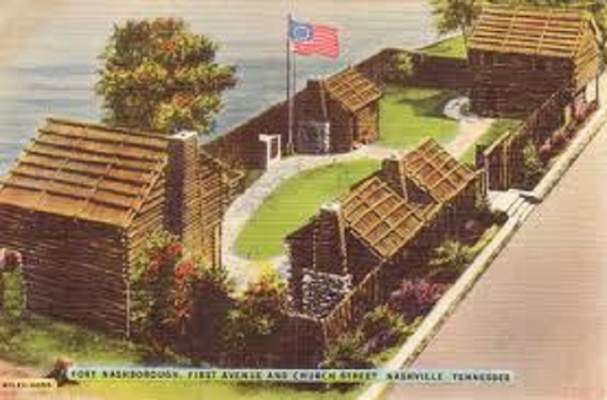 Depiction of Fort Nashborough, First Avenue and Church Street