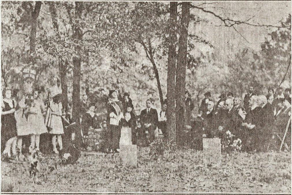 November 1, 1933 re-dedication of Brainerd Mission Cemetery; Mrs. Russell Magna, President General NSDAR was in attendance.